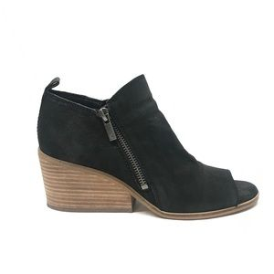 Lucky Brand Black Leather Open Toe Bootie Size 7.5
